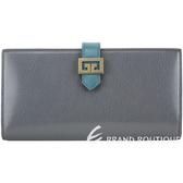 GIVENCHY GV3 紋理山羊皮釦式長夾(鐵灰拚色) 1940420-06