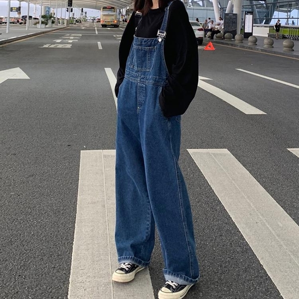 春裝韓版新款復古百搭寬鬆高腰牛仔褲女顯瘦寬管褲長褲吊帶褲「艾瑞斯居家生活」