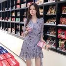 雪紡洋裝 chic小雛菊連身裙女 韓國新款荷葉邊碎花桔梗裙初戀裙短裙 店慶降價
