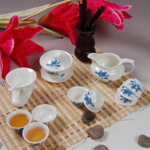 茶具套裝12頭玉瓷釉中彩荷花功夫
