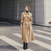 毛呢外套-雙排扣經典繫帶冬季長版女大衣73yx17[時尚巴黎]