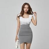 無袖洋裝小禮服 2021夏季韓版方領抹胸性感蕾絲無袖高腰拼接格子包臀女神範連身裙