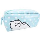 水藍色款【日本進口正版】貓咪收集 帆布 大筆袋 鉛筆盒 收納包 化妝包 Neko atsume - 427884