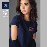 Gap女裝 Jolin同款Logo活力純色短袖T恤 468998-海軍藍色