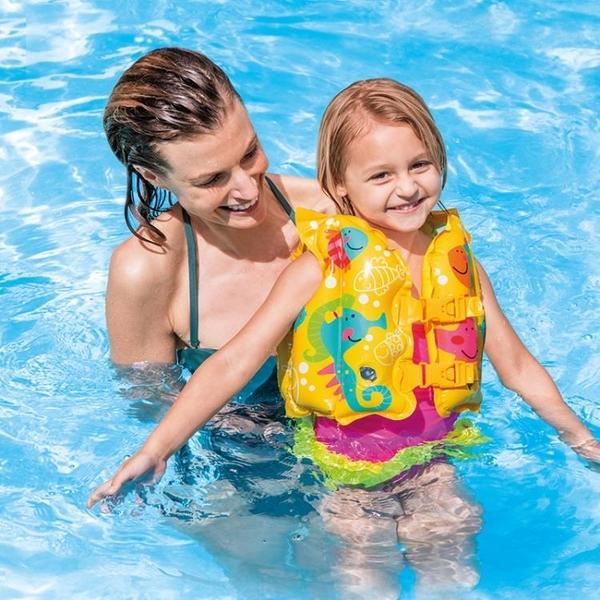 救生衣 INTEX兒童救生衣浮力背心寶寶游泳裝備小孩手臂泳圈漂流馬甲泳衣 宜品