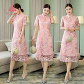 夏裝民族風日常改良旗袍中長款短袖少女小香風蕾絲洋裝連身裙 巴黎時尚生活
