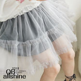 女童短裙 甜美荷葉雙層百摺紗裙 韓國外貿中大童 QB allshine