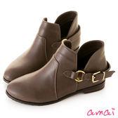 amai側V鏤空圓環皮帶微寬筒短靴 棕