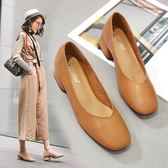 高跟鞋 秋冬款 方頭 軟皮 杏色v口 奶奶鞋 粗跟 中跟3cm 方跟 棕色 低跟 復古 快速出貨