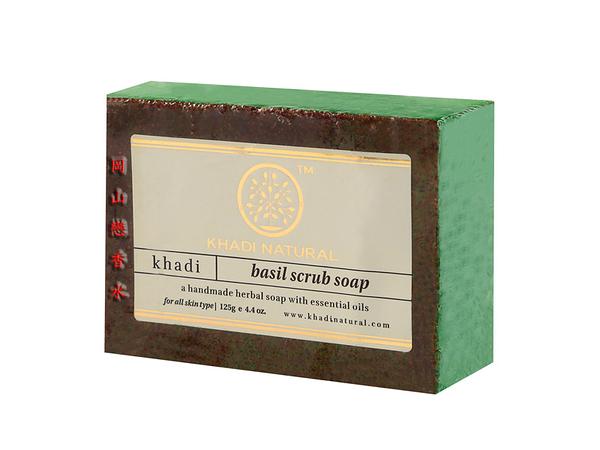岡山戀香水~印度 Khadi 草本羅勒去角質手工精油香皂125g~優惠價:75元