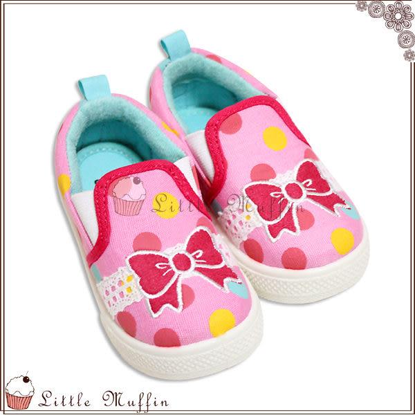 桃紅刺繡蝴蝶結蕾絲裝飾膠底帆布鞋/便鞋/免綁帶 可外出 付鞋盒