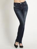 BOBSON 女款低腰針織牛仔小直筒褲(8123-53)