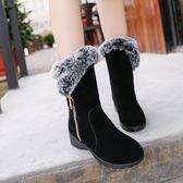 中筒靴—雪地靴女鞋圓頭加絨棉鞋平底中筒靴坡跟短靴 依夏嚴選