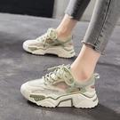 2021年夏季新款增高老爹厚底鏤空透氣休閑運動鞋子 蘑菇街