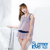 【Summer Love 夏之戀】大女條紋緹花長版四件式泳衣(E16719)