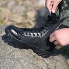 戰術靴 男特種兵超輕特訓作戰戰術 軍靴高幫黑色帆布作訓勞保鞋  降價兩天