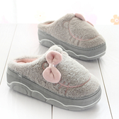 厚底防滑居家棉拖鞋女冬季保暖增高跟毛毛拖時尚新款室內外穿月子
