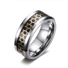 《 QBOX 》FASHION 飾品【RTCR-025】精緻個性歐美六芒星碳纖維鎢鋼戒指/戒環