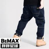 【胖胖星球】中大尺碼‧口袋車線造型牛仔褲 38~50腰‧加大【98351】