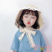 兒童防曬沙灘蕾絲公主漁夫帽太陽盆帽遮陽帽草帽寶寶女童【聚可愛】