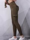 窄管褲 外穿翹臀口袋健身褲女運動訓練彈力緊身瑜伽褲蜜桃臀健美褲薄款 魔法鞋櫃