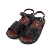 POLO 牛皮交叉編織涼鞋 黑 女鞋