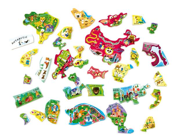 【美國代購 特價新品】法國 Janod 磁鐵世界地圖木頭拼圖 magnetic world puzzle 聖誕禮物 兒童節禮物
