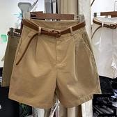 工裝短褲女寬鬆夏天外穿高腰a字五分闊腿休閒中褲【左岸男裝】