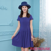 Red House 蕾赫斯-素面細褶方領洋裝(共2色)