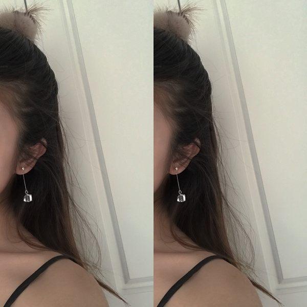 全館83折 韓國氣質超透亮正方形立體水晶長款簡約耳環耳釘女R187
