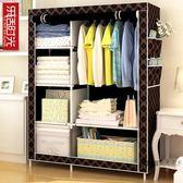 簡易衣櫃布藝布衣櫃鋼管鋼架單人衣櫥組裝雙人收納簡約現代經濟型XW【台北之家】