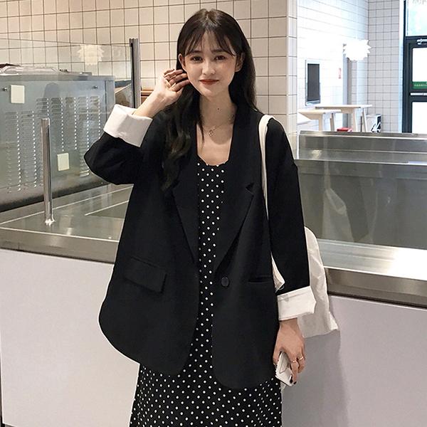夏季韓版寬鬆顯瘦黑色西裝外套女士2020新款休閒百搭中長款小西服