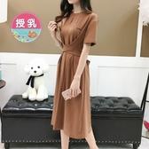 初心 韓系哺乳裙 【B2122】 短袖 超顯瘦 收腰 開岔 長裙洋裝 哺乳衣 哺乳裝