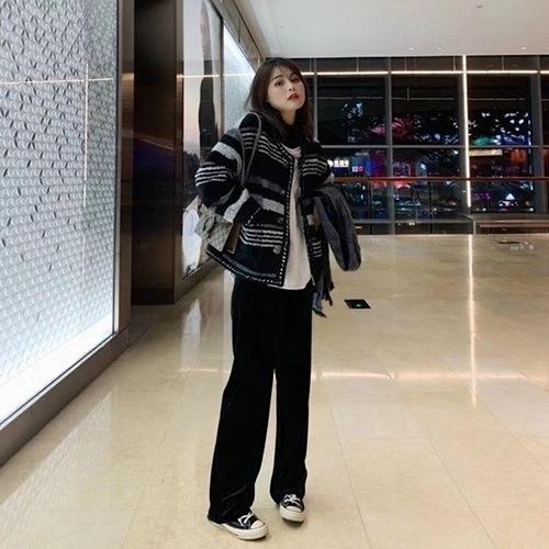 毛呢外套-短版條紋粗花呢小香風秋冬女大衣73zg34【巴黎精品】