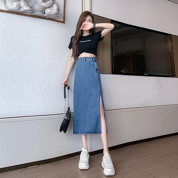 VK旗艦店 韓國風修身開叉下擺牛仔半身裙長版單品短裙