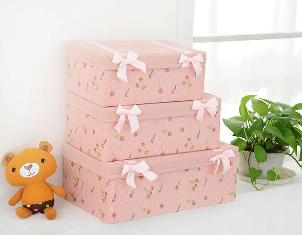 【想購了超級小物】櫻桃系列蝴蝶結收納箱(中號)/收納盒/化妝收納盒/內衣收納盒