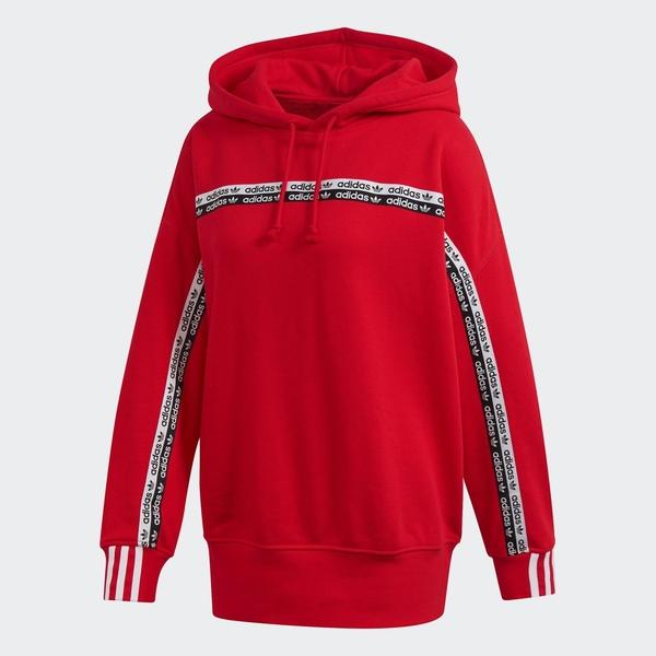 ADIDAS W.N.D 女裝 長袖 連帽 長版 純棉 舒適 透氣 紅【運動世界】FM2510