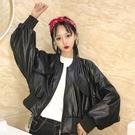 外套短款小皮衣外套原宿bf風學生春秋裝韓版機車寬鬆蝙蝠袖夾克女外套