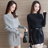 秋冬新款時尚女裝潮性感毛衣中長款包臀針織裙收腰顯瘦連身裙