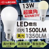 【SY 聲億科技】13W廣角LED燈泡 全電壓 E27(9入)黃光