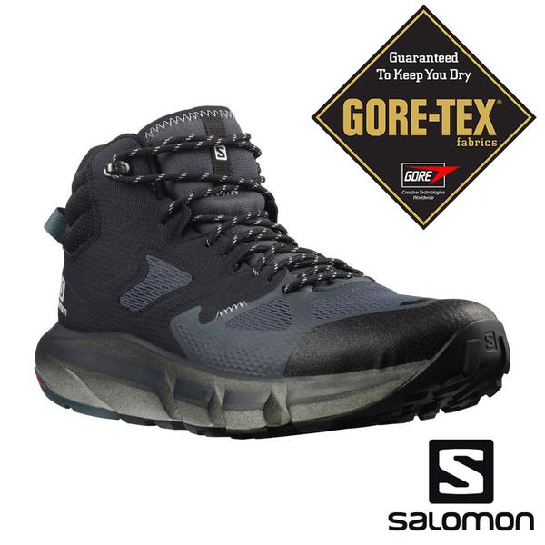 【SALOMON 法國】男PREDICT HIKE GTX中筒登山鞋『烏木黑/黑/暴綠』414609 健行鞋.多功能鞋