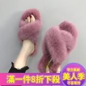 毛毛拖鞋拖鞋女秋季新款時尚外穿毛毛鞋百搭韓版學生冬天孕婦chic棉拖-『美人季』
