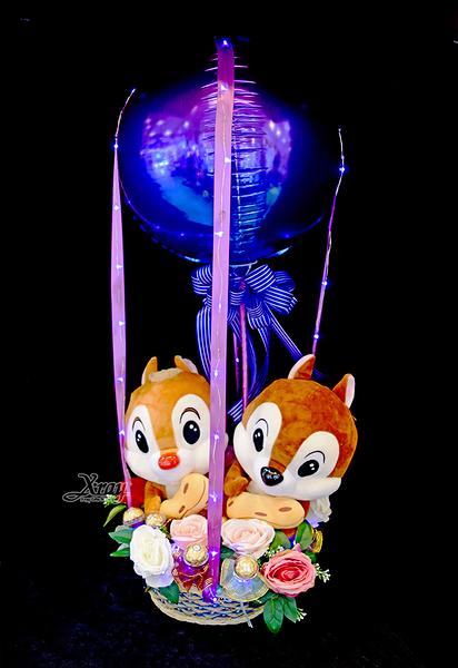 12吋奇奇蒂蒂抱花生幸福熱氣球,金莎花束/情人節禮物/婚禮佈置/派對慶生,節慶王【Y291809】