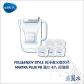 BRITA FILL&ENJOY STYLE 純淨濾水壺-灰色+替換濾心四入組 3.6公升 ║ 碧藍水