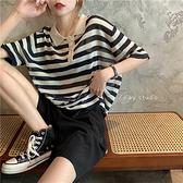 polo衫Polo領短袖薄款條紋針織衫T恤新款夏季女寬鬆顯瘦中長款上衣 衣間迷你屋 交換禮物
