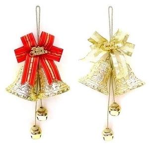 摩達客 3吋金色雙花鐘鈴鐺串吊飾(單入)B款-金緞帶金色