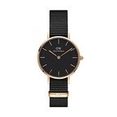 【Daniel Wellington】PETITE瑞典時尚品牌經典簡約尼龍腕錶-極致黑x玫金-28mm/DW00100247/原廠兩年保固