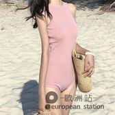 連身泳衣/女性感連體三角大胸小胸聚攏修身遮肚顯瘦溫泉新款韓版泳裝「歐洲站」