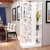 歐式屏風隔斷雕花玄關柜鏤空簡約現代隔斷柜客廳白色折屏雙面門廳