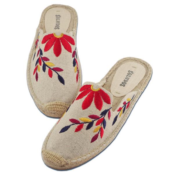 美國正品 Soludos 花卉刺繡草編穆勒鞋-米白色【現貨在台】